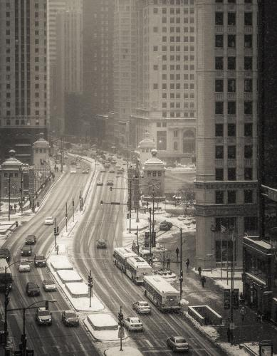 Snowy Chicago Morning
