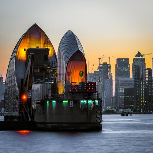 Thames Barrier at Sunset