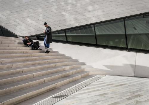 Men Relaxing on Steps