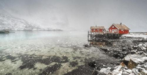 Red Huts in Snowstorm