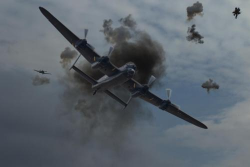 Creative_Ian Montgomery_Lancaster in flak with ME109 on its tail