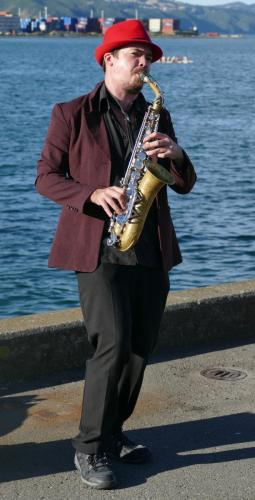People_Stan Mace_Sax busker Wellington quayside